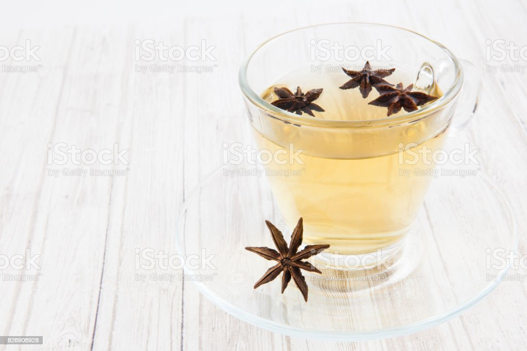 Chamomile and star anise infusion stock photo