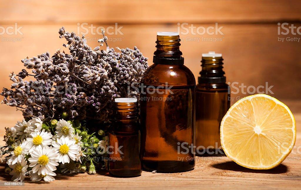 Chamomile, Lemon and Lavender Essential Oil stock photo
