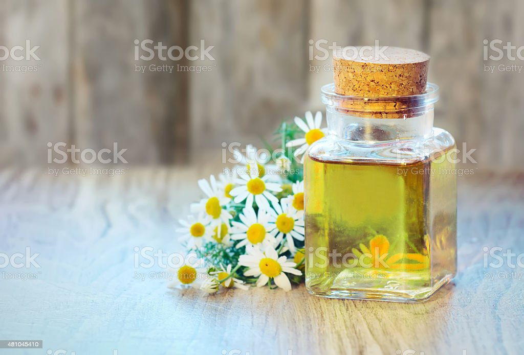 Chamomile oil bottle with flowers on wooden background. stock photo