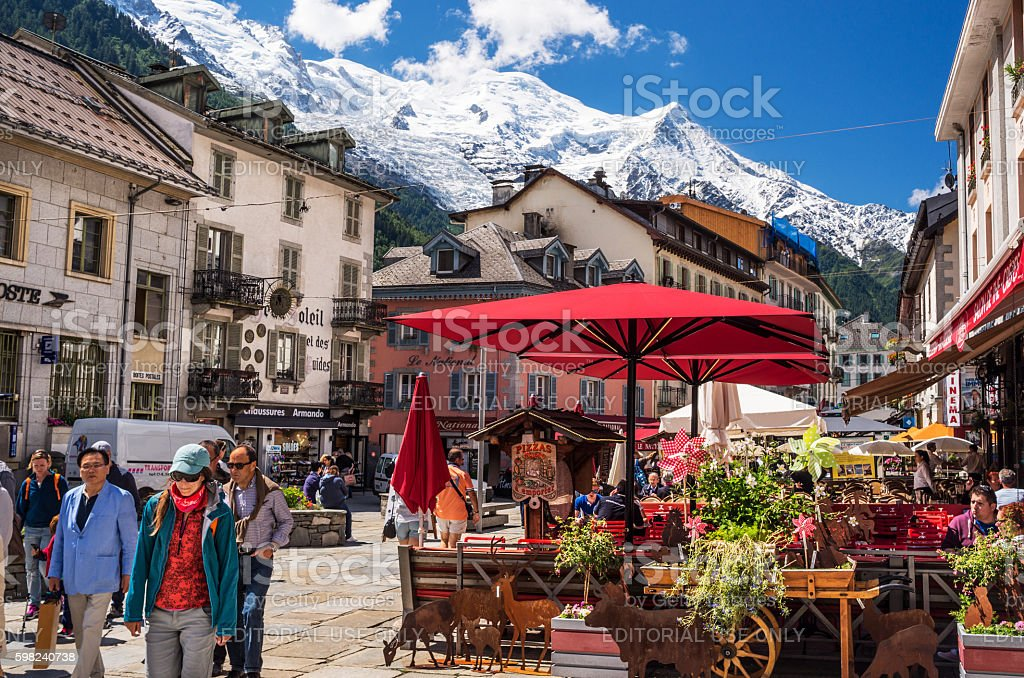 Chamonix, France, with Mont Blanc mountain stock photo