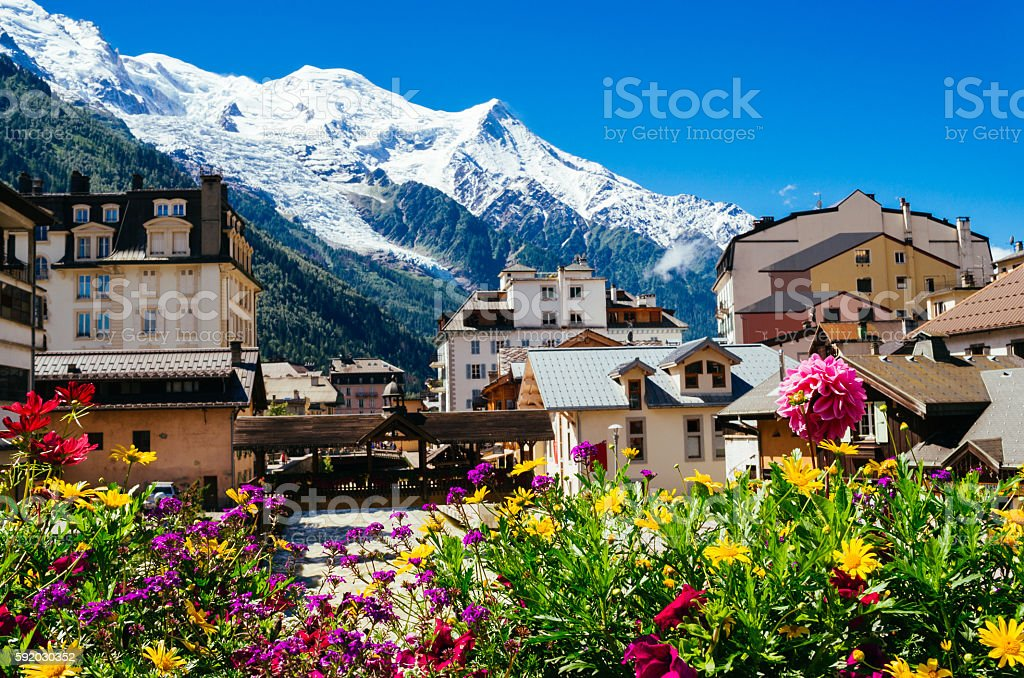 Chamonix, France with Mont Blanc mountain range stock photo