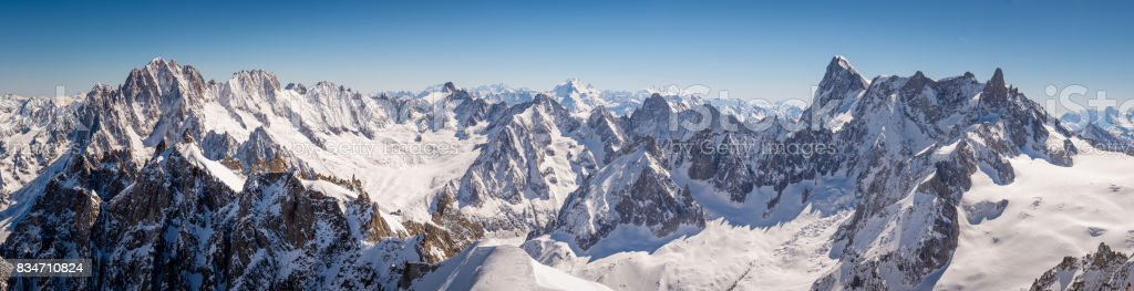 Chamonix Mont Blanc panorama stock photo