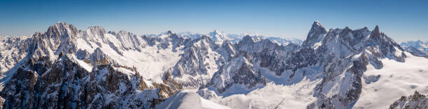 Chamonix Mont Blanc panorama A panorama from the summit of Aiguille du Midi in the French alps looking over the snow capped peaks and vast glaciers swiss alps stock pictures, royalty-free photos & images