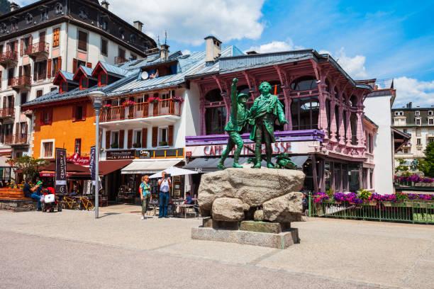 Chamonix Mont Blanc town, France stock photo