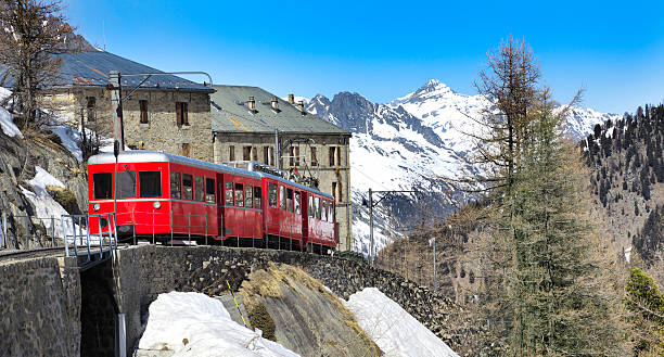 Chamonix - Montenvers train in french Alps stock photo