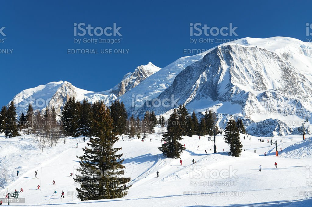 Chamonix ski resort stock photo