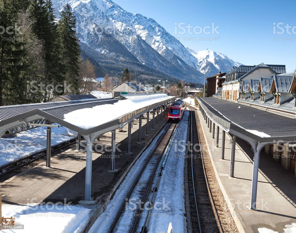 Chamonix station in french Alps. royalty-free stock photo