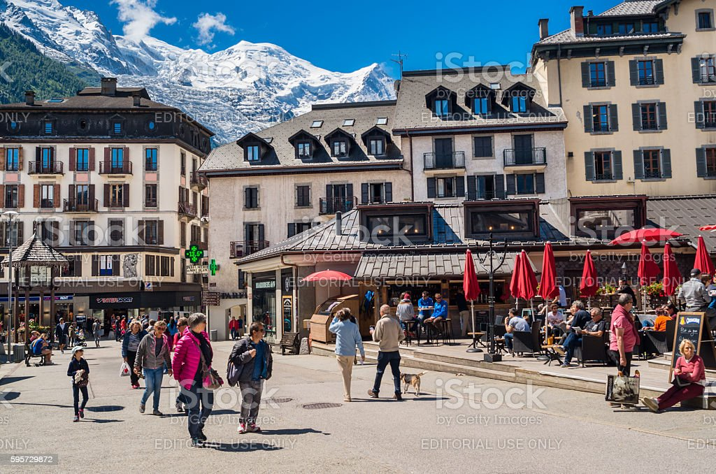 Chamonix town with Mont Blanc mountain stock photo