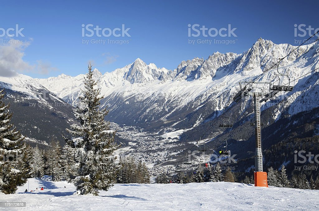 Chamonix's valley in winter royalty-free stock photo