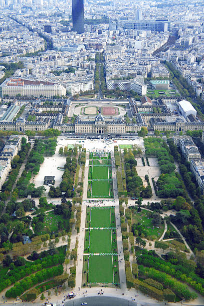 Champ de Mars and Ecole militaire view from Eiffel tower Champ de Mars and Ecole militaire view from Eiffel tower in Paris ecole stock pictures, royalty-free photos & images