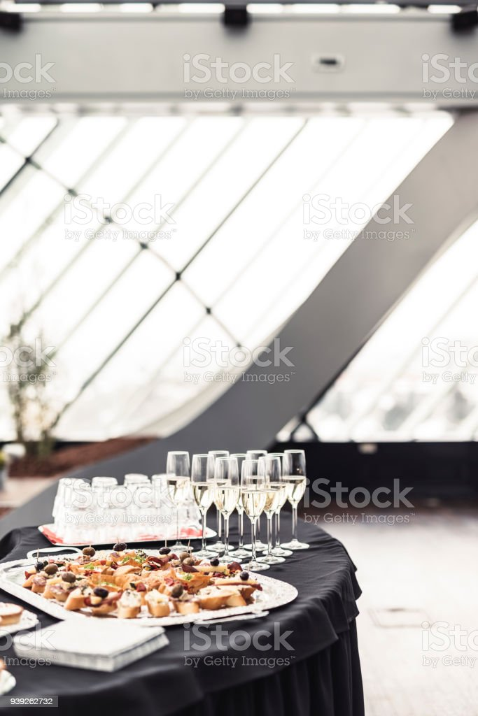 Champagne and canape food stock photo