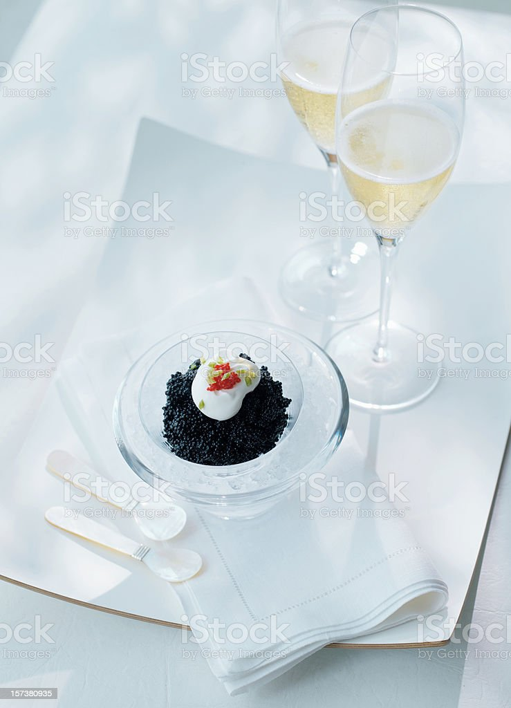 Champagne and Caviar stock photo