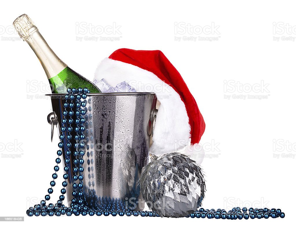 Champagne and christmas decor royalty-free stock photo