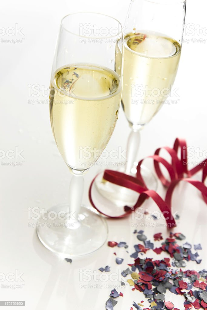 champagne and confetti royalty-free stock photo