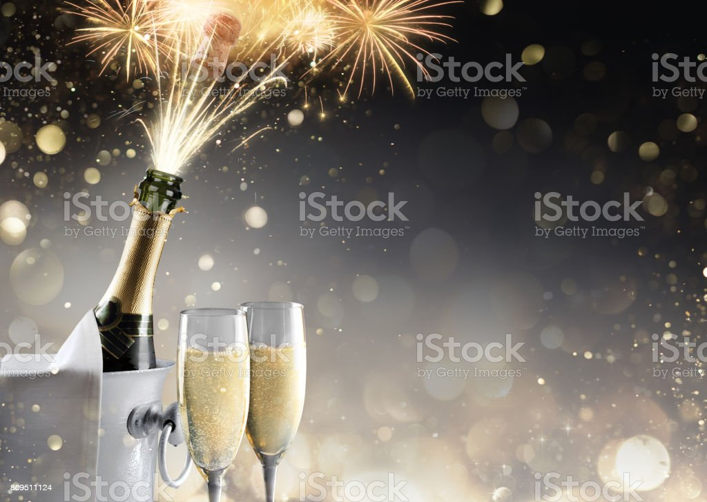 Champagne And Fireworks For Sparkling Celebration stock photo