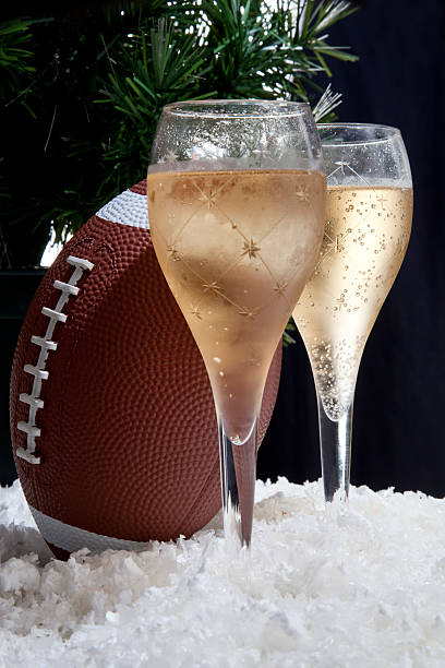 Champagne and football stock photo