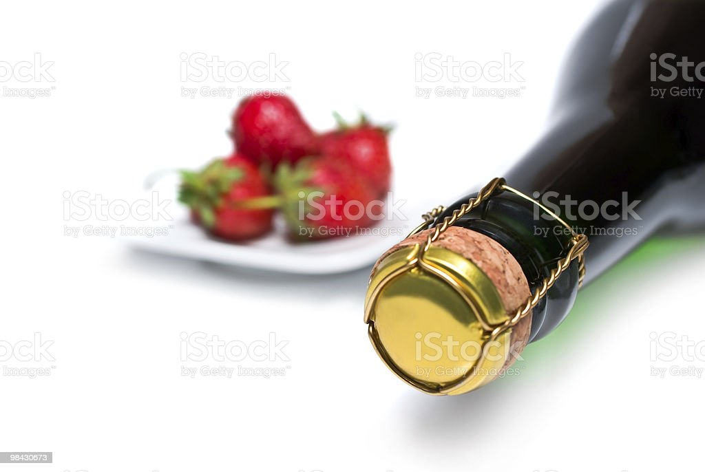 champagne and fresh strawberries royalty-free stock photo