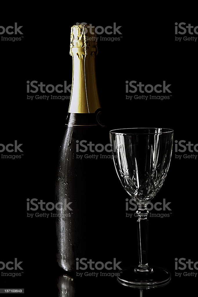 champagne and glass stock photo