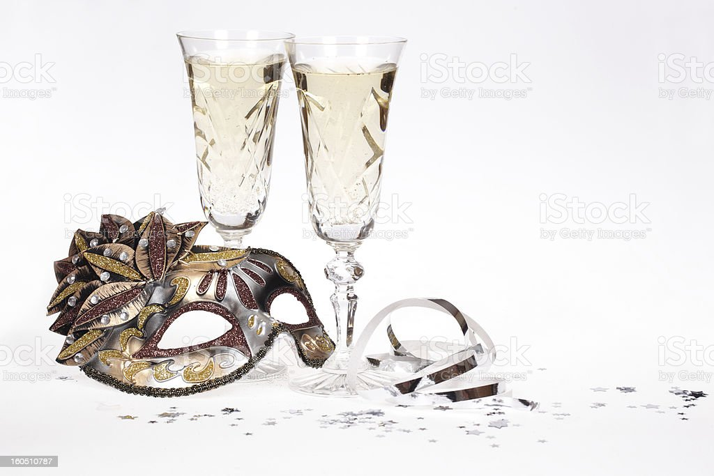 Champagne and masquerade mask royalty-free stock photo