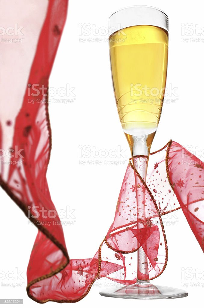 Champagne and Ribbon royalty-free stock photo