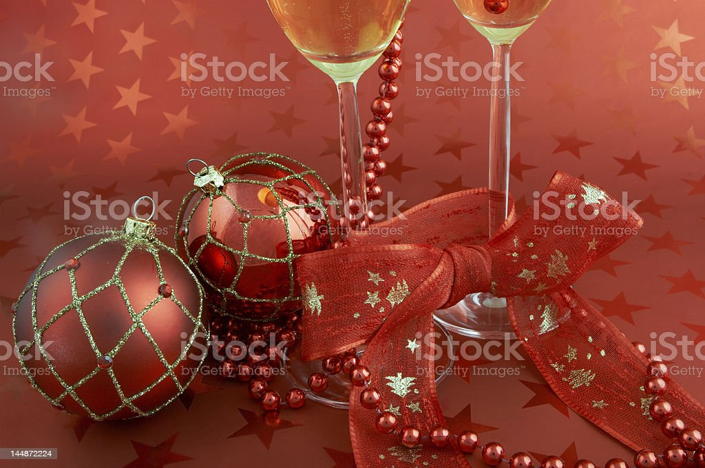 Champagne and ribbons royalty-free stock photo