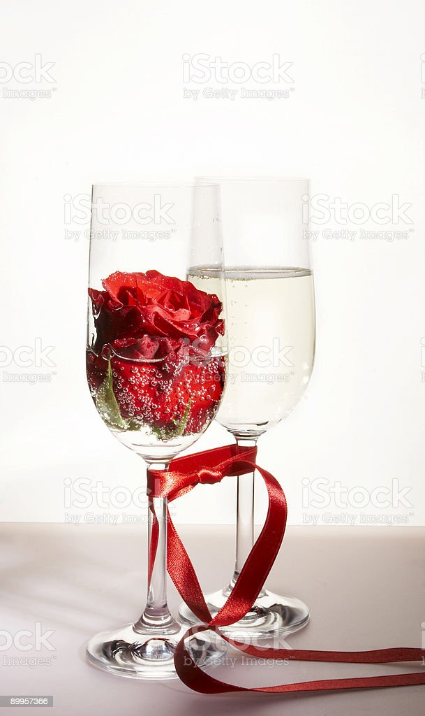 champagne and rose royalty-free stock photo