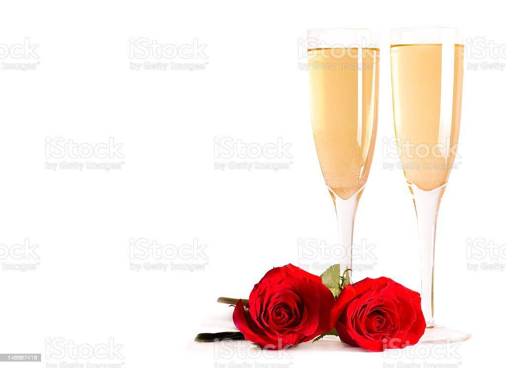 Champagne and roses isolated royalty-free stock photo