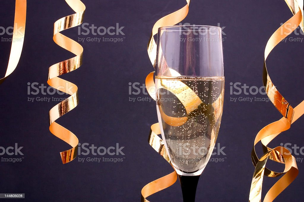 champagne and streamers royalty-free stock photo