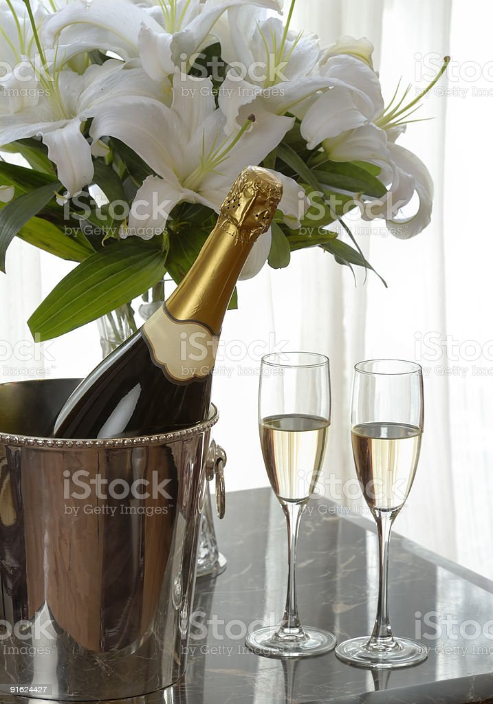 champagne and white lily royalty-free stock photo