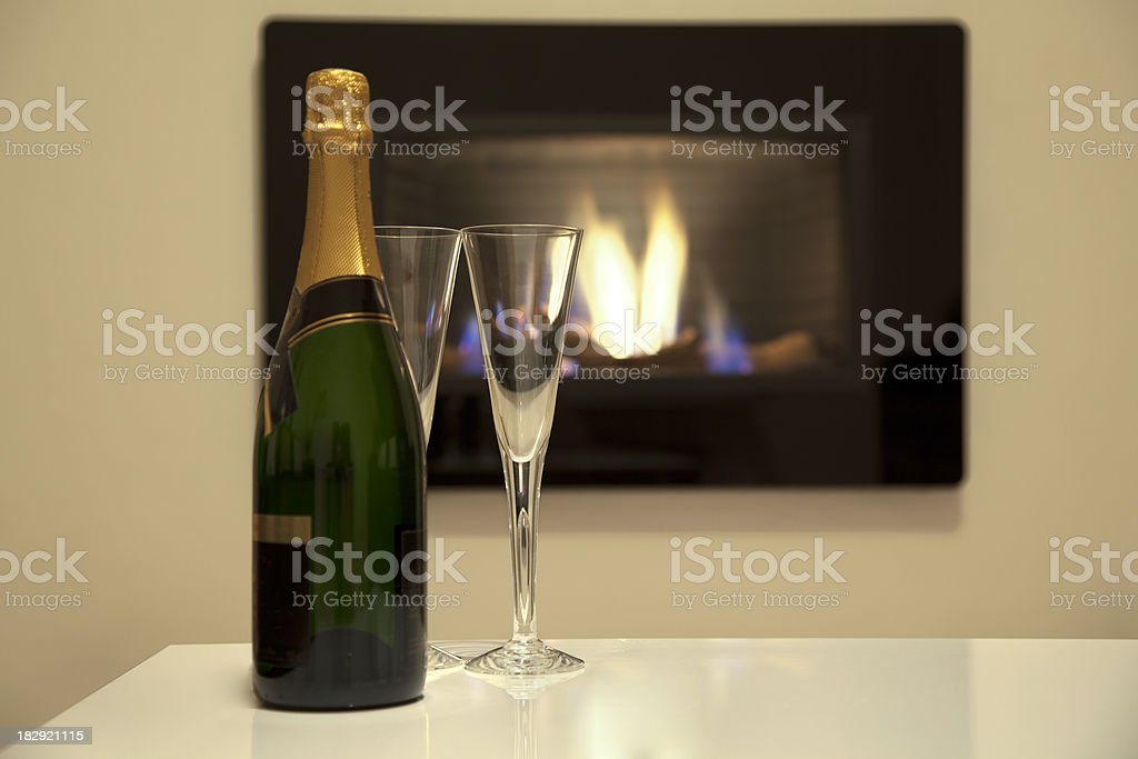 Champagne and wineglasses royalty-free stock photo