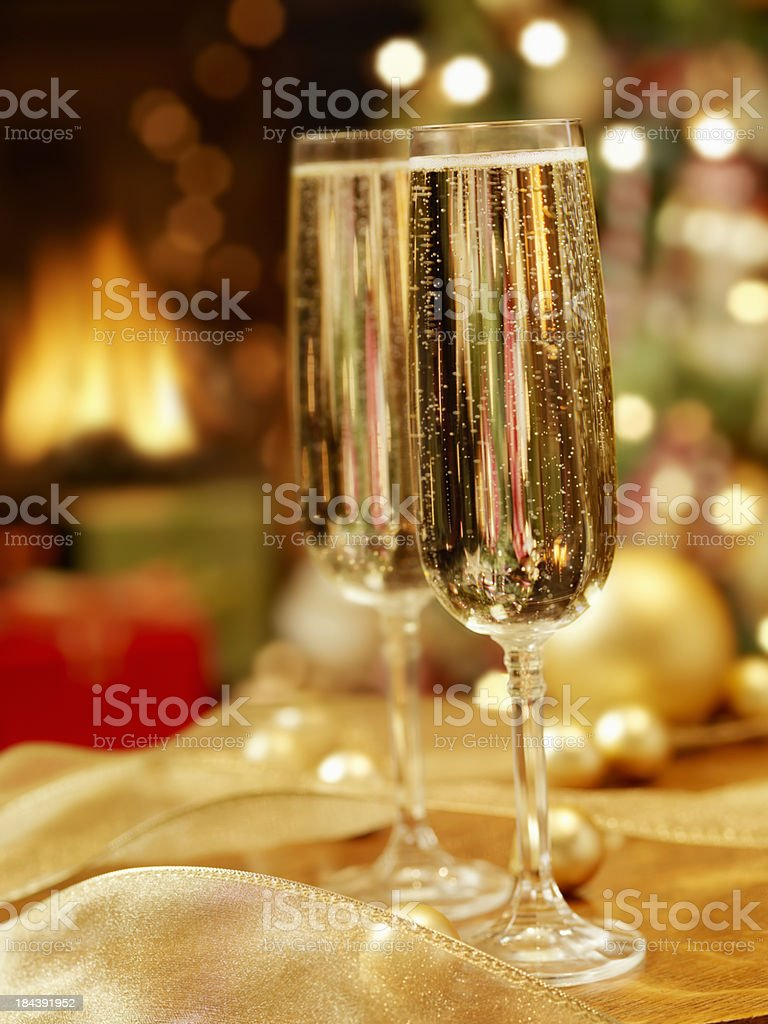 Champagne at Christmas Time royalty-free stock photo