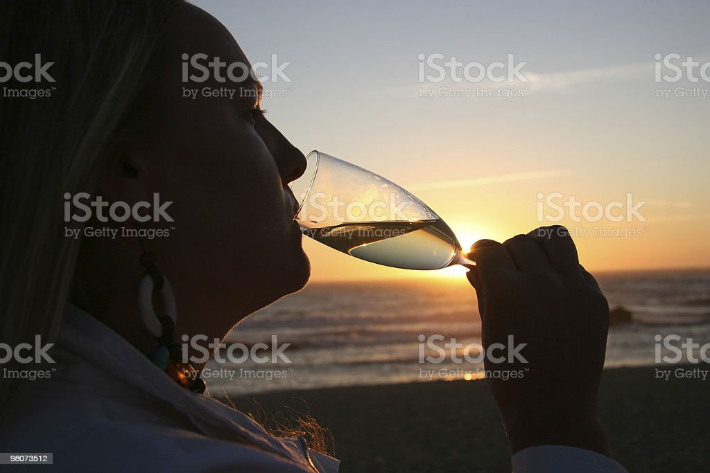 Champagne at Sunset royalty-free stock photo