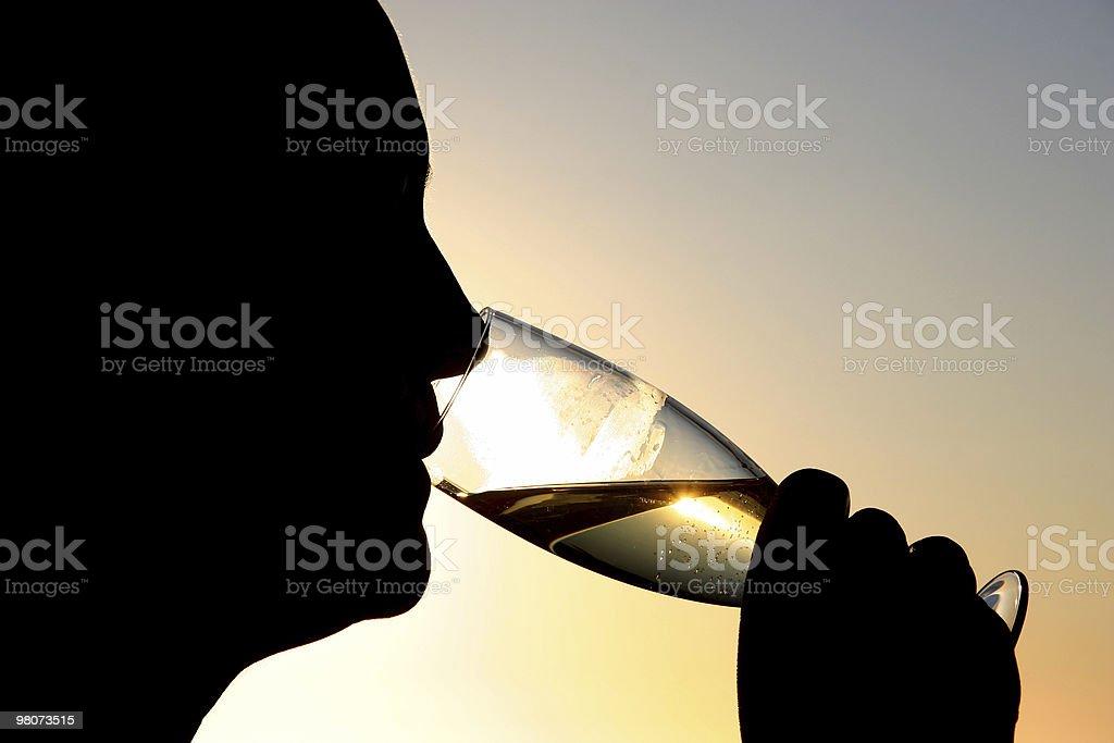 Champagne al tramonto foto stock royalty-free