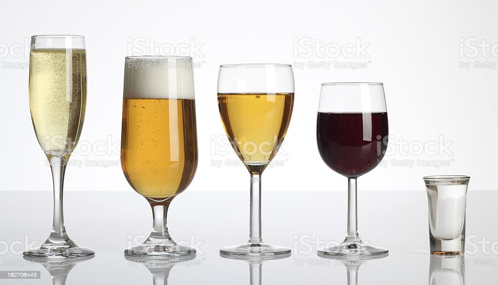 Champagne Beer Wine Spirits stock photo