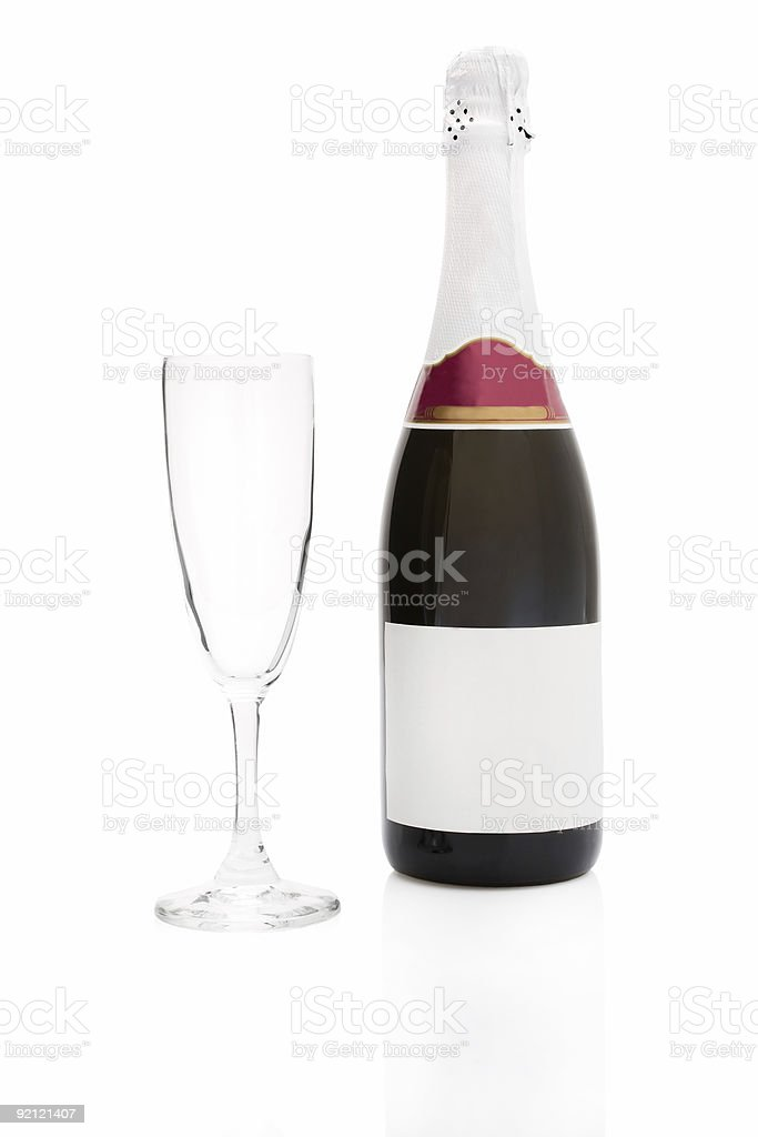Champagne bottle and a flute royalty-free stock photo