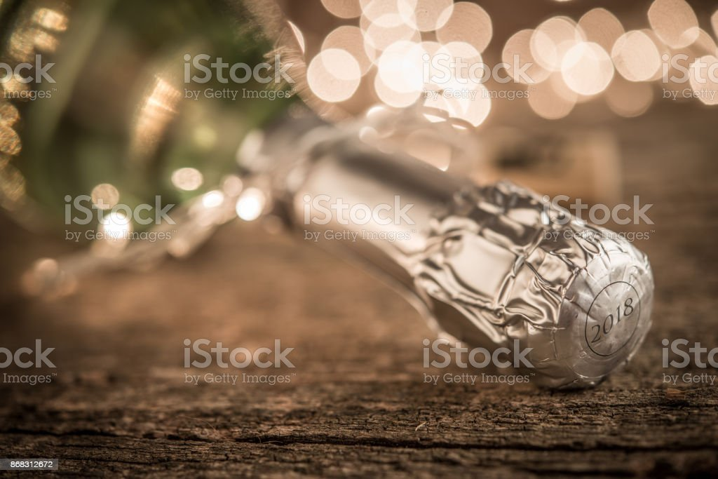 Champagne bottle and bokeg lights for holady concept stock photo