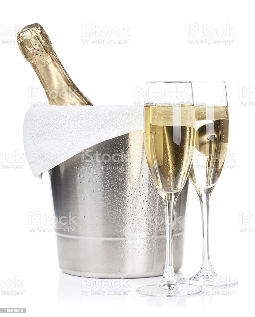 Champagne bottle and two glasses stock photo