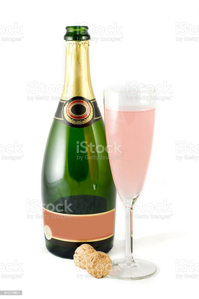 Champagne Bottle & Flute stock photo