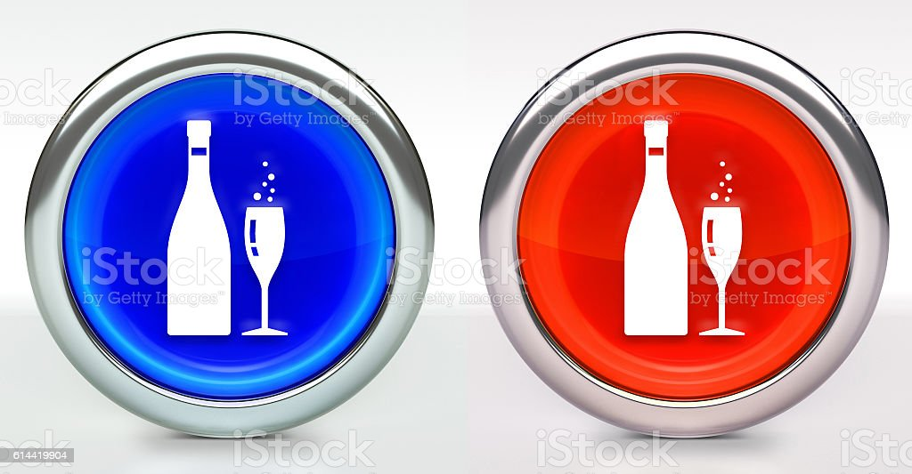 Champagne Bottle & Glass Icon on Button with Metallic Rim stock photo