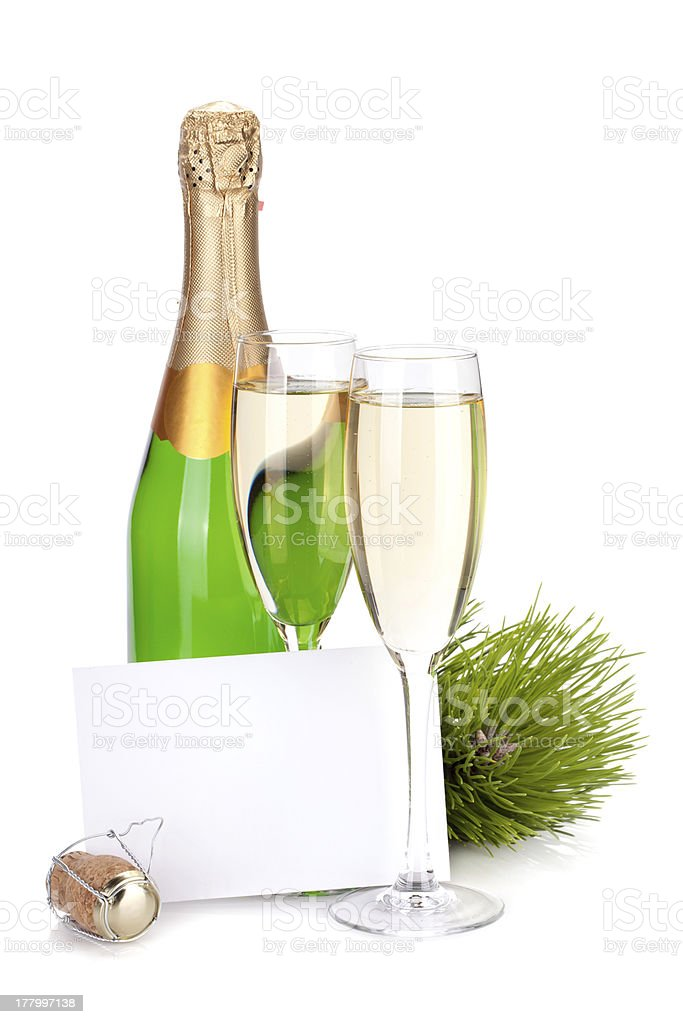 Champagne bottle, glasses and empty card royalty-free stock photo