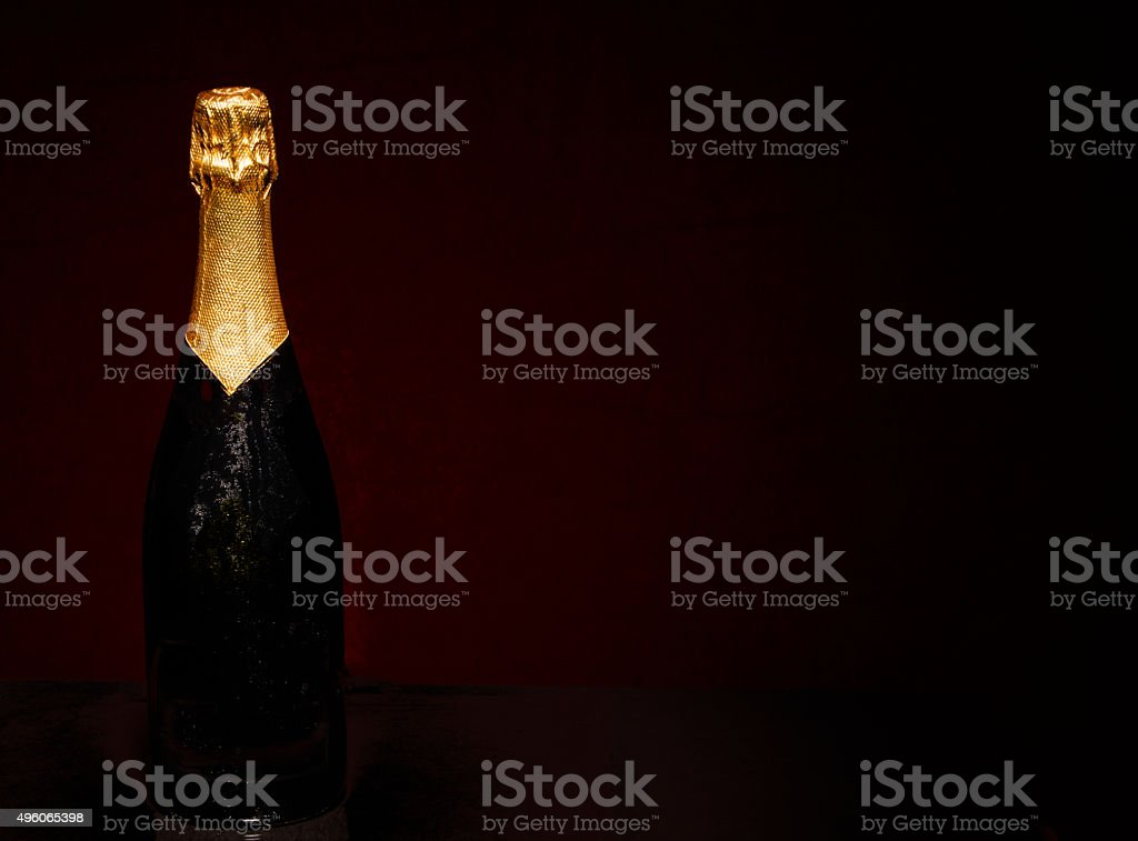 Champagne Bottle on Black stock photo