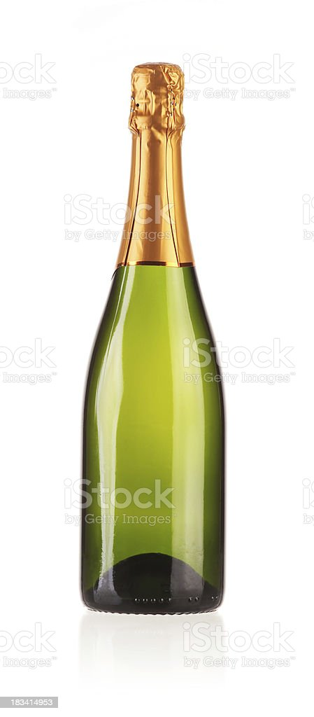 Champagne Bottle on White Background royalty-free stock photo