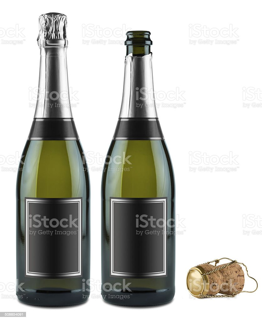 champagne bottle set stock photo