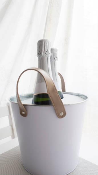 Champagne bottles for celebrations stock photo