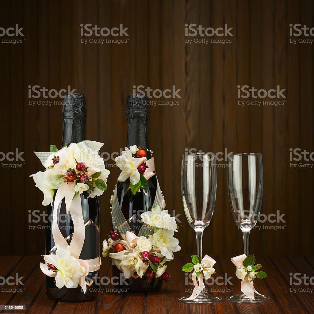 Glas Champagner Mit Hochzeit Dekoration Und Blumen Ar Stock