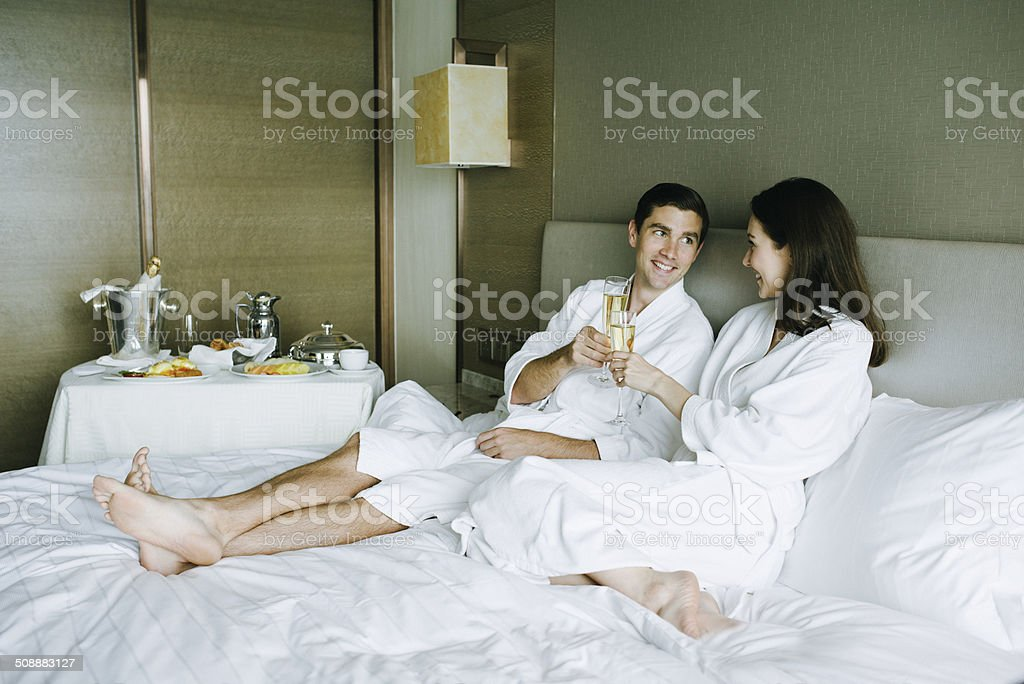 Champagne Breakfast in Bed stock photo