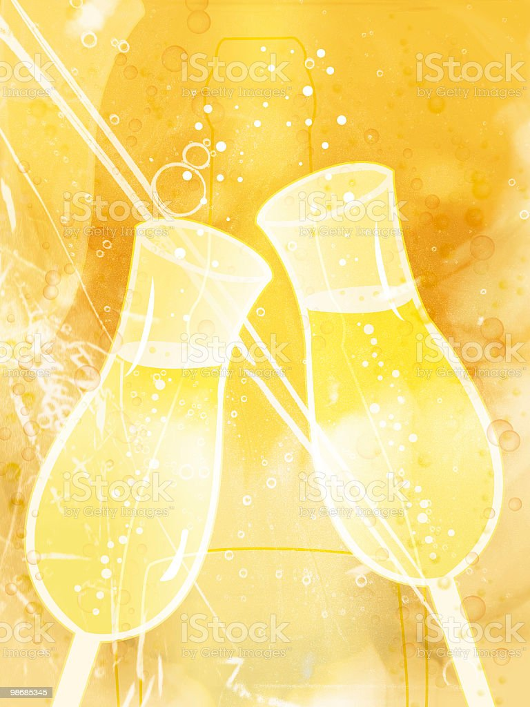 Champagne bubbles [raster illustration] royalty-free stock photo