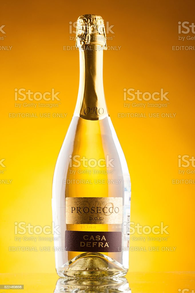 Omsk, Russia - August 14, 2014: champagne Casa Defra Prosecco stock photo