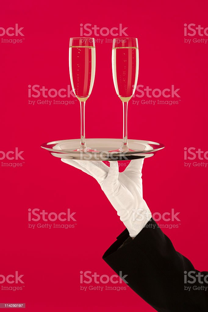 Champagne celebration for two stock photo