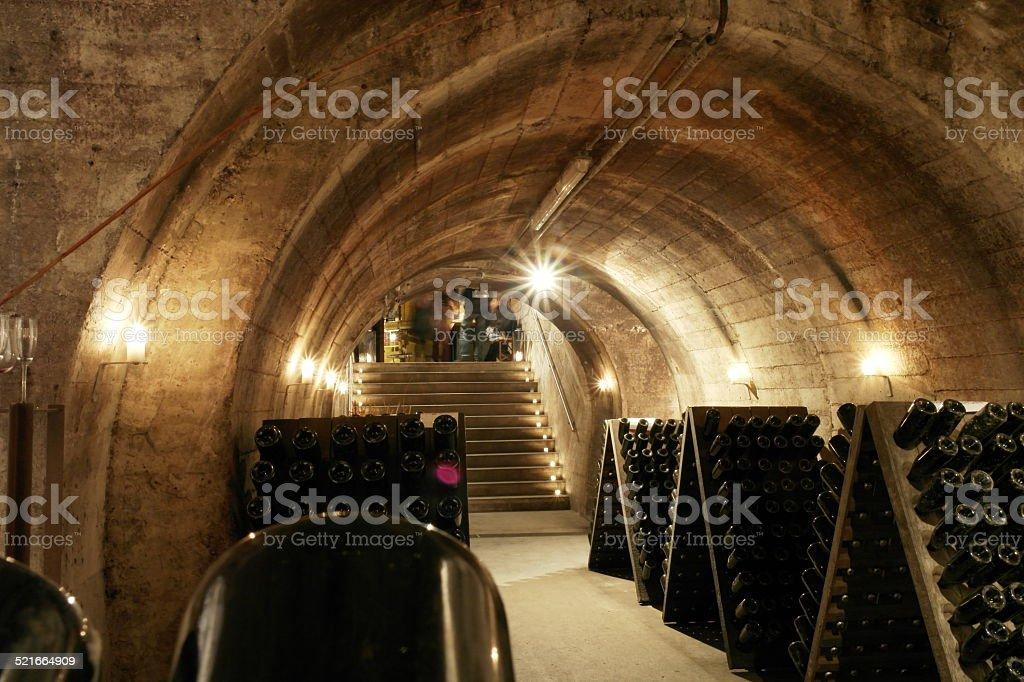 Champagne cellar stock photo